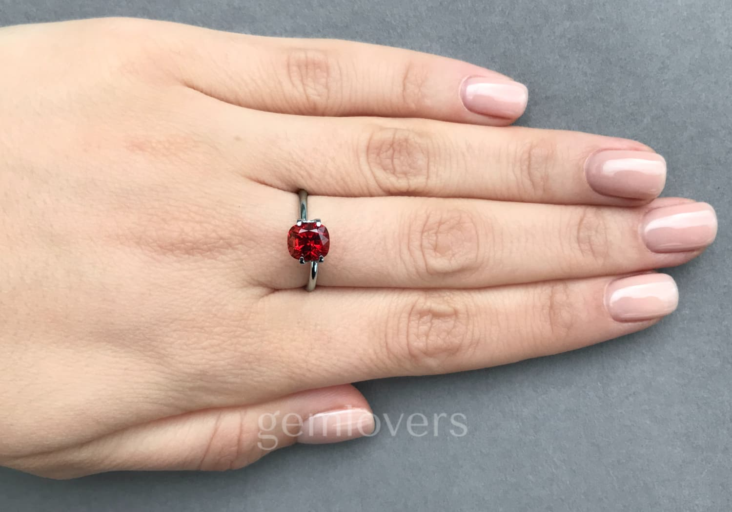 Burmese bright red spinel ring