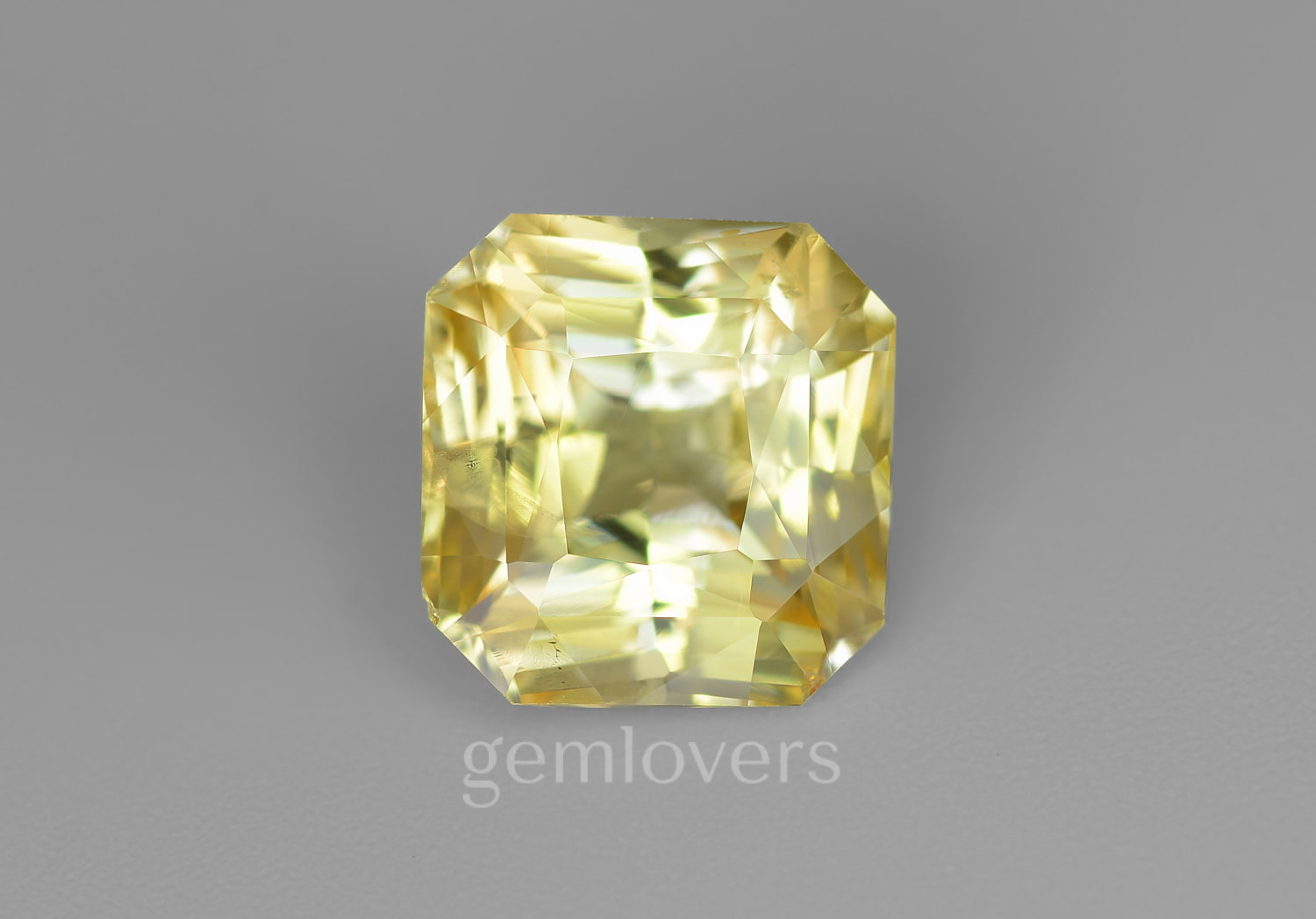 Radiant cut natural yellow sapphire