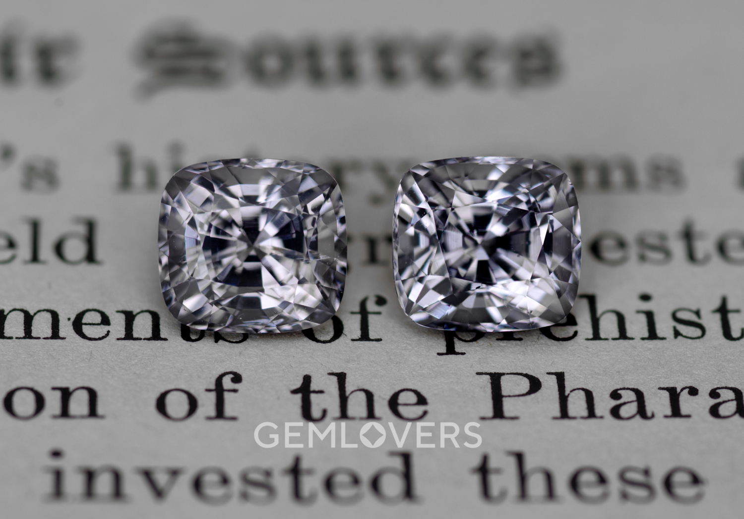 A pair of steel gray natural spinels