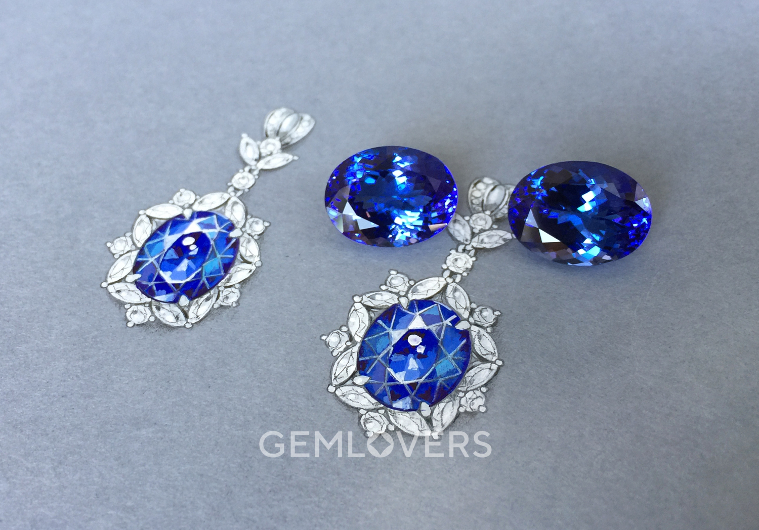 A pair of oval shaped tanzanites
