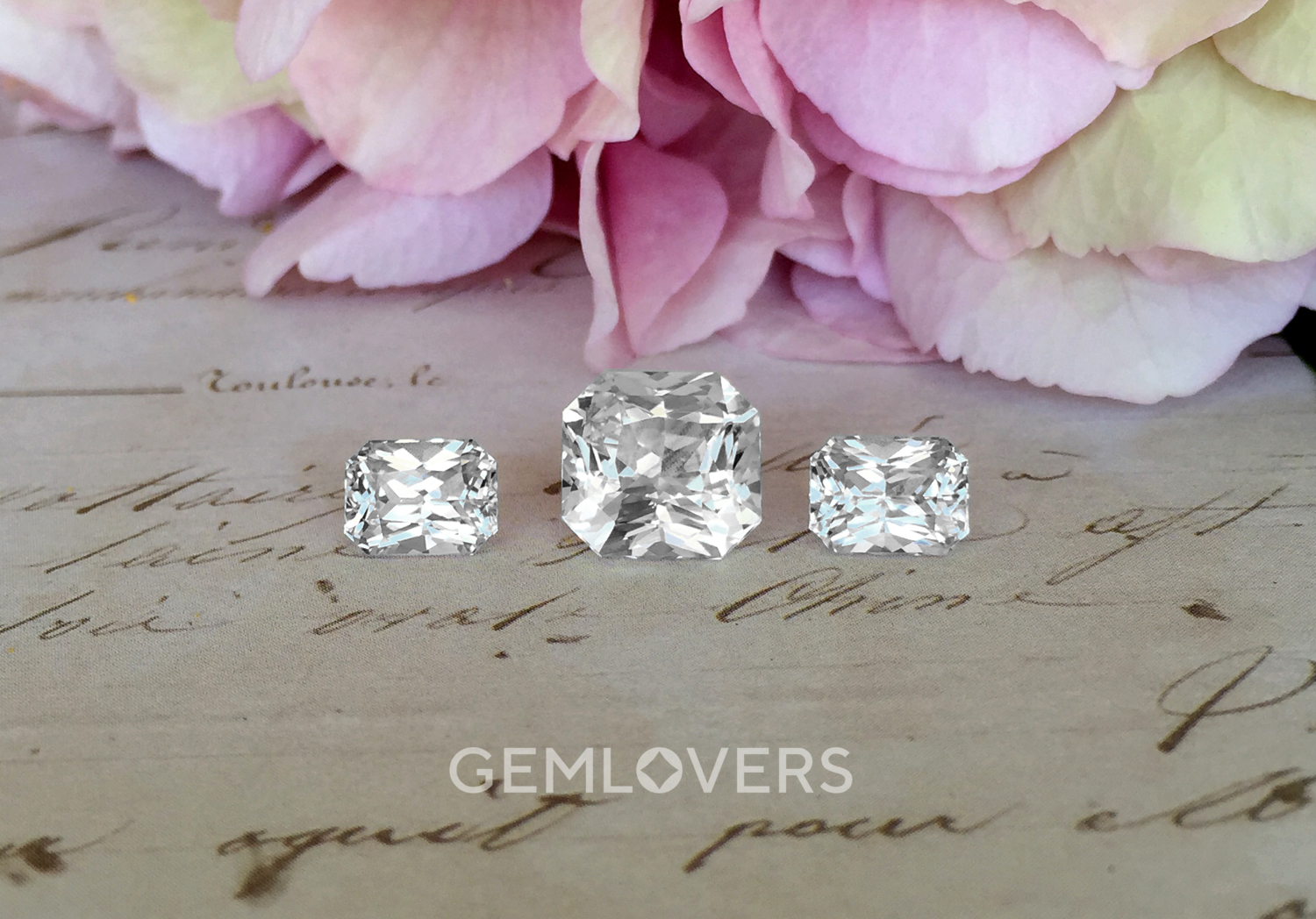 Set of natural white radiant cut sapphires