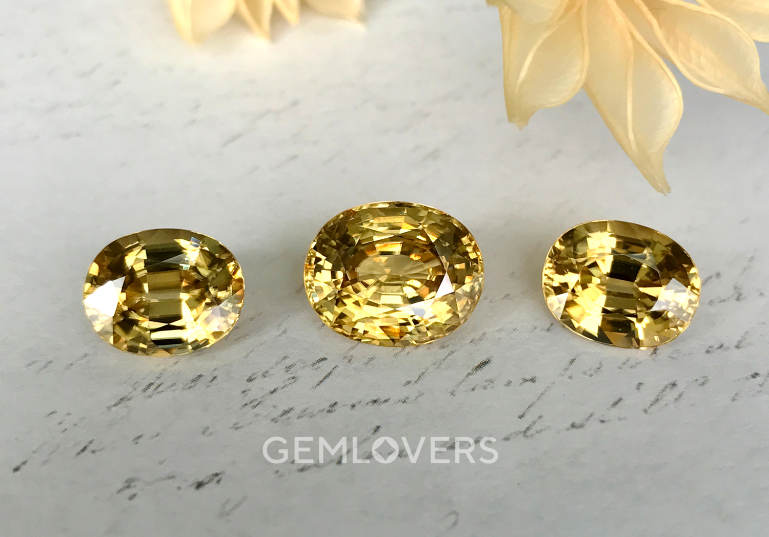 Set of natural yellow zircons in oval cut