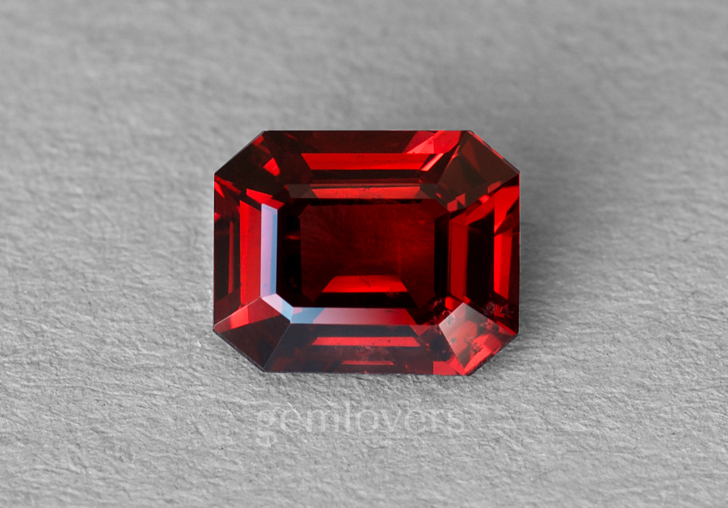 Red spinel in emerald cut