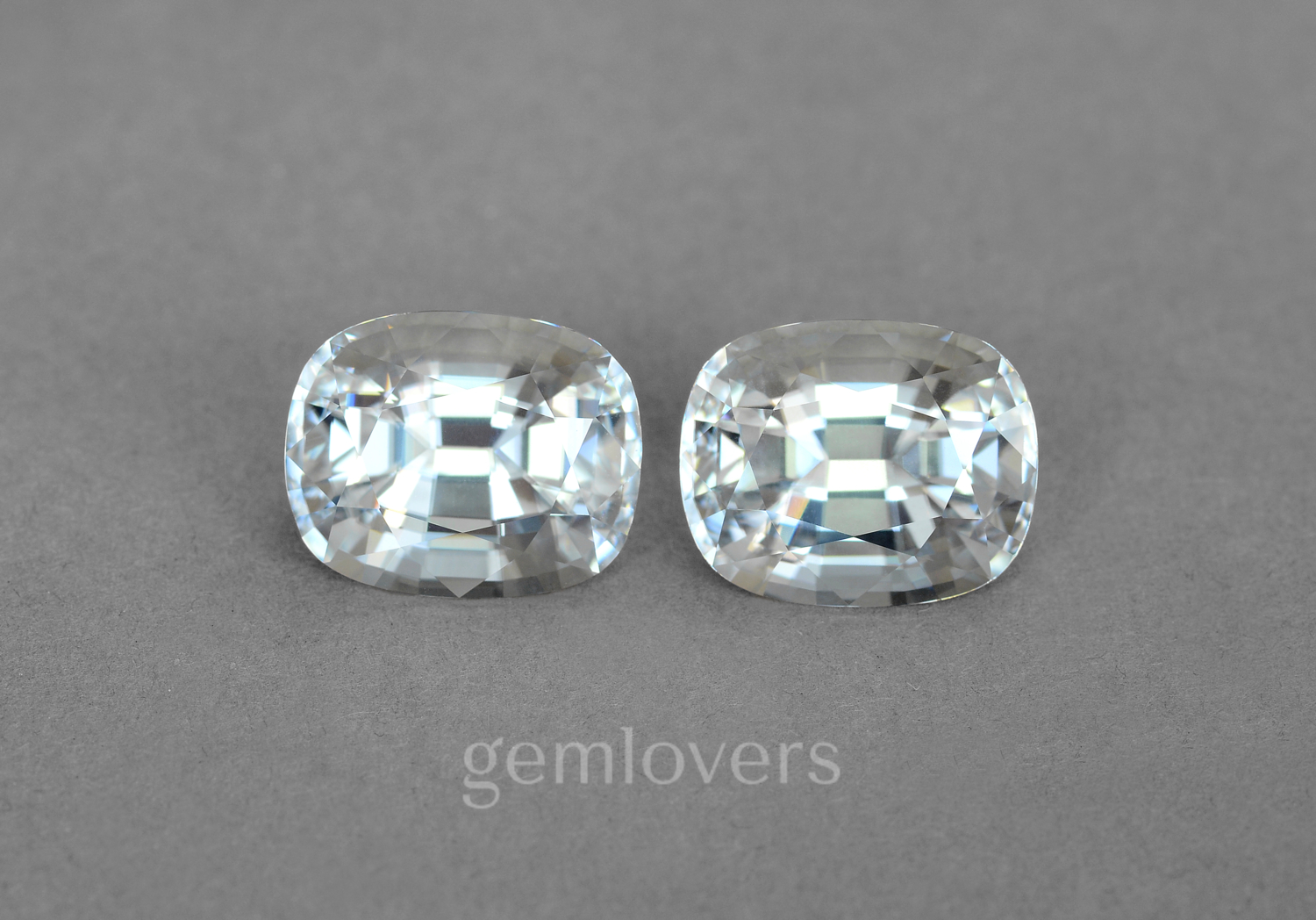 A pair of colorless natural zircons