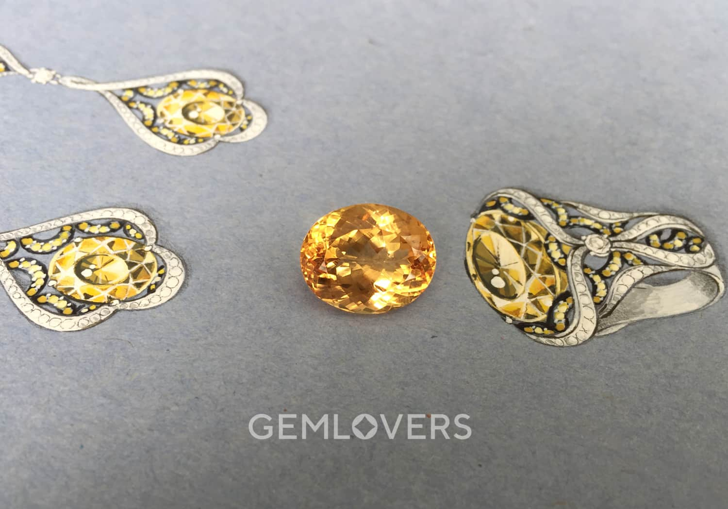 jewelry sketches for yellow topaz