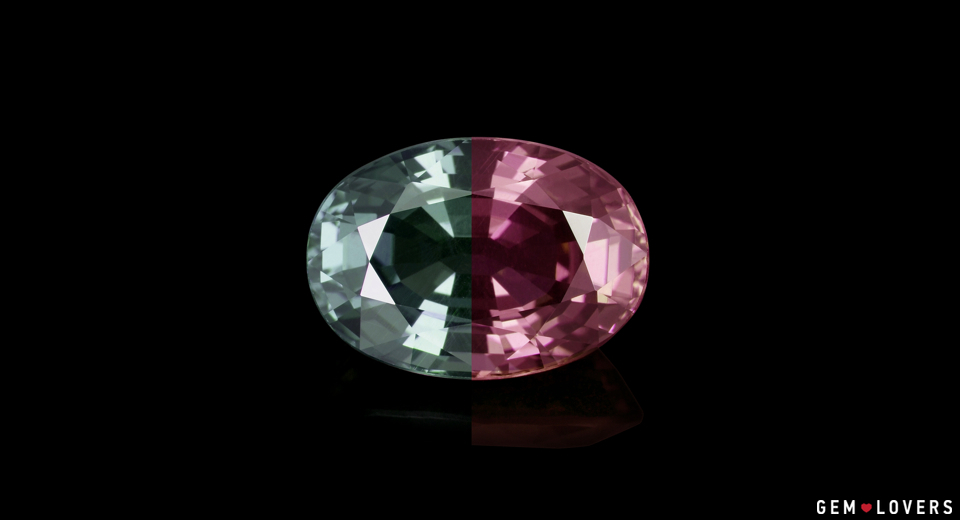 Two colors of a garnet weighing