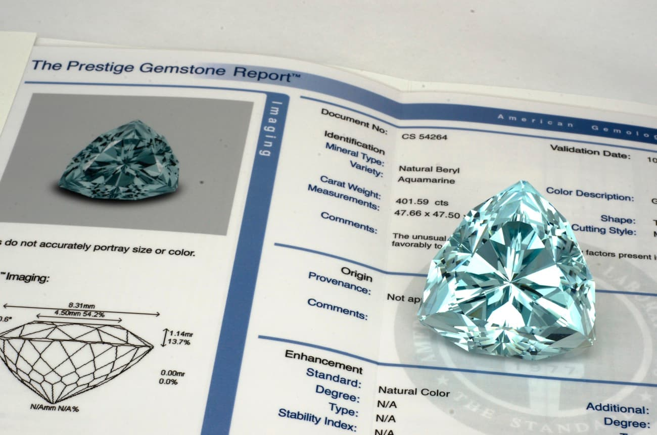certificate (report) for aquamarine from AGL laboratory