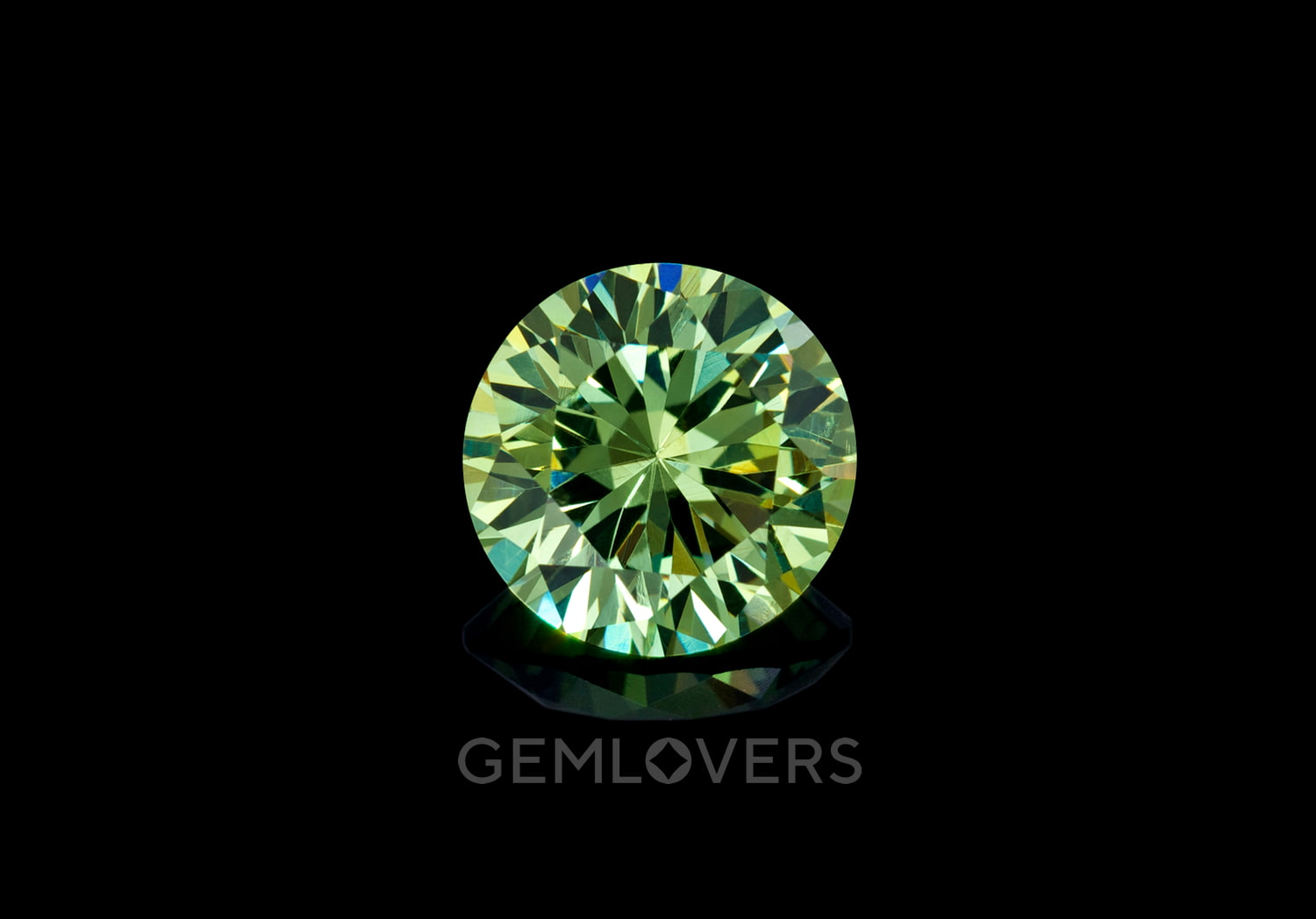 a faceted round demantoid from Namibia