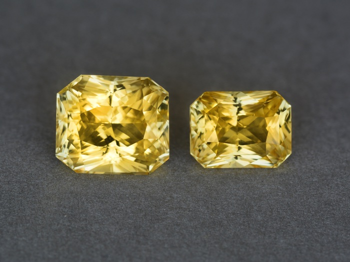 comparison of gemstones weighing 6.56 carats (left) and 4.13 carats (right)