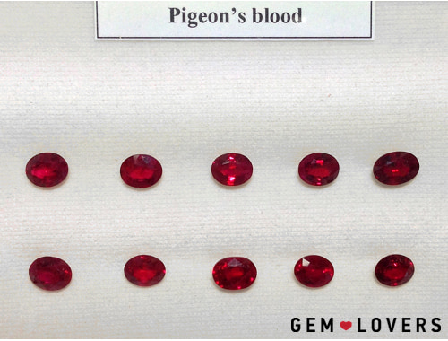 ruby etalons of red «Pigeon's blood» from the collection of GIT