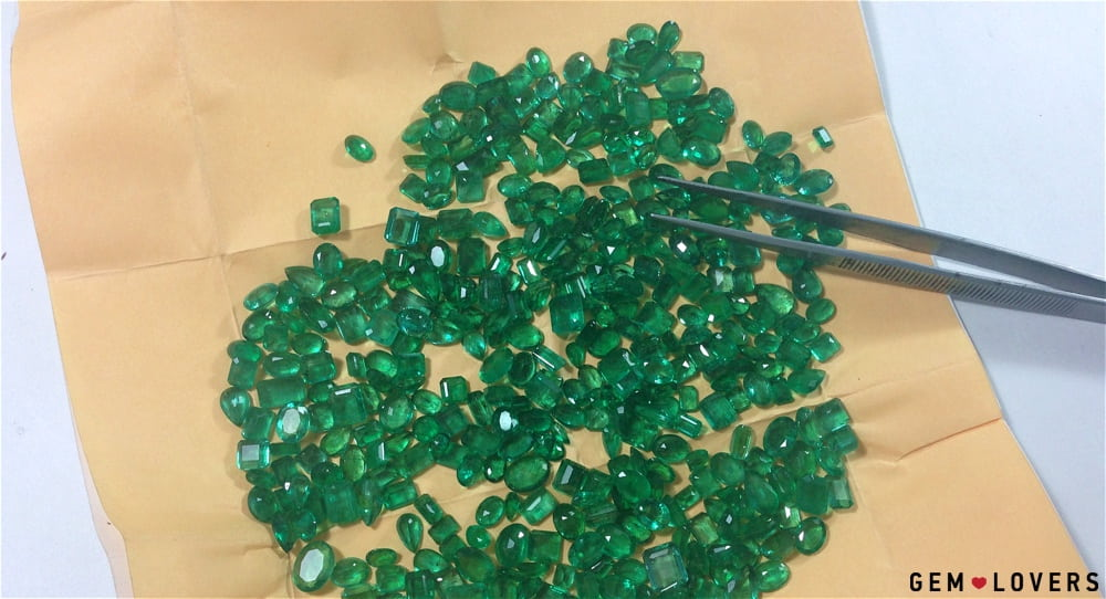 Set of faceted emeralds from Afghanistan