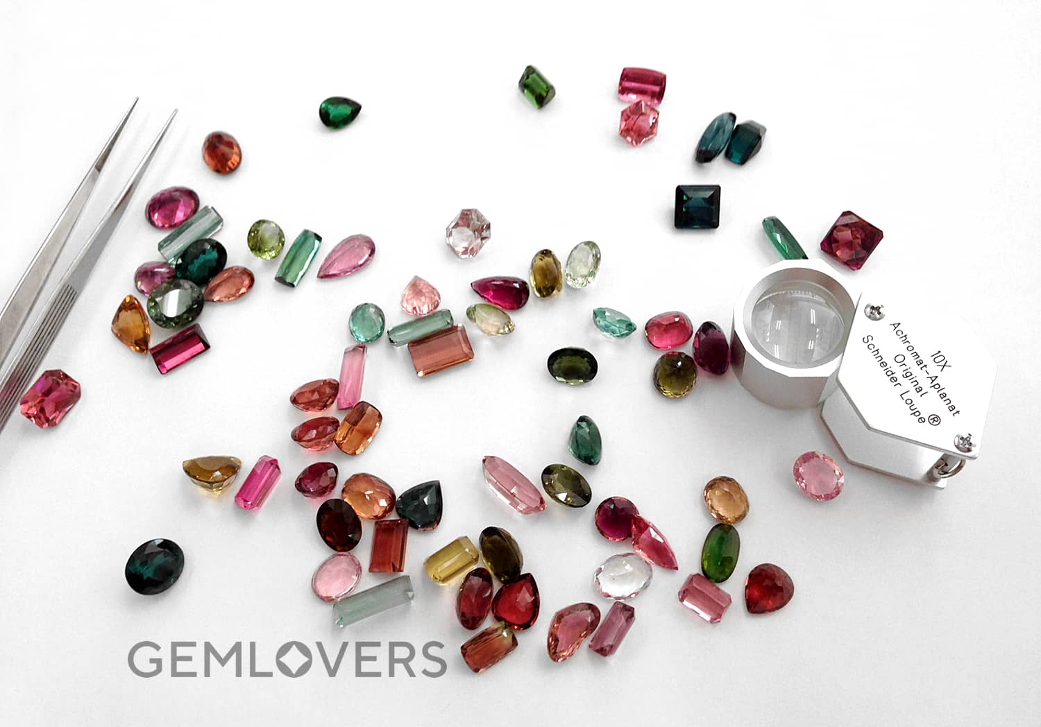 tourmaline of different facets and colors