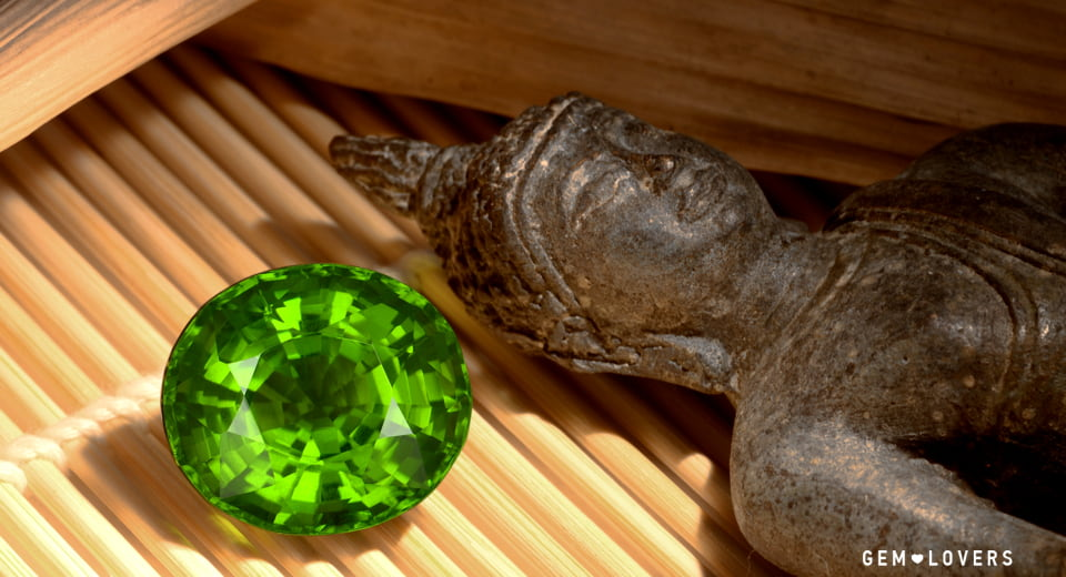 large green peridot with saturated color